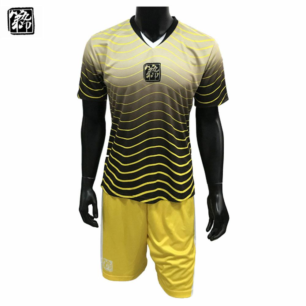 2018 High Quality 100 Polyester Black Yellow Soccer Jerseys Team